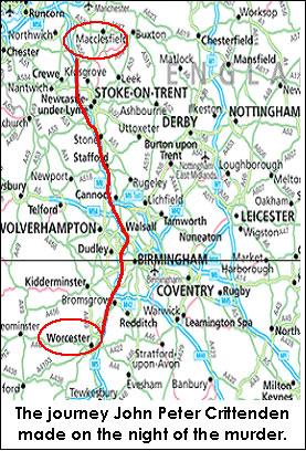 kaart van de route genomen door de moordenaar